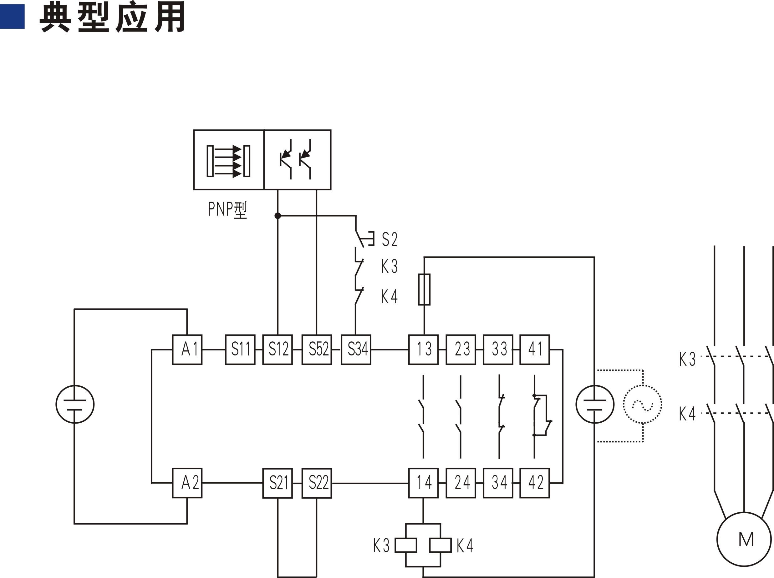 开关型安全设备输入 (PNP型安全光幕 24V DC 2NO+2NC 自动/手动复位)