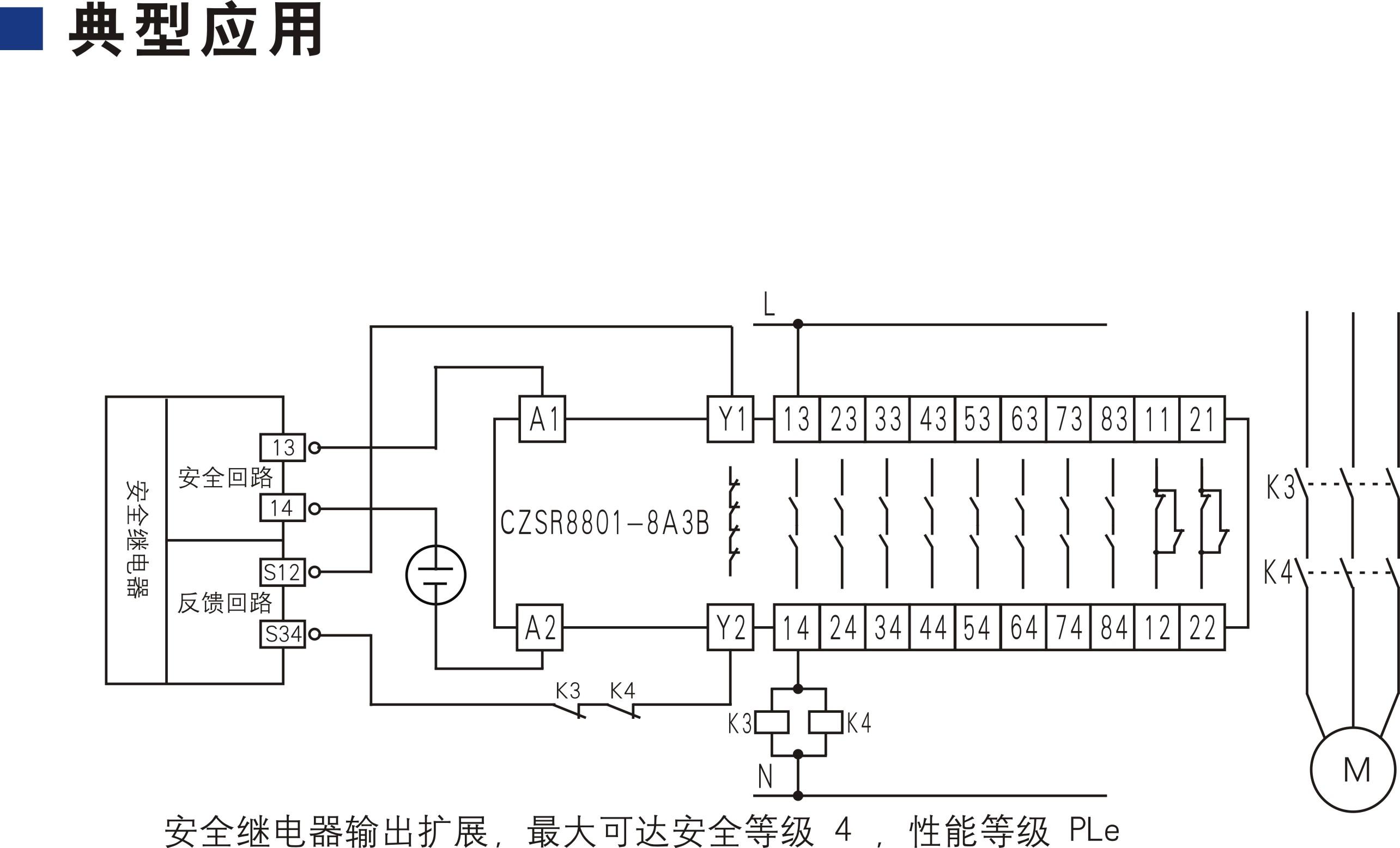 开关型安全设备输入 (输出扩展 24V DC 8NO+3NC 自动/手动复位)